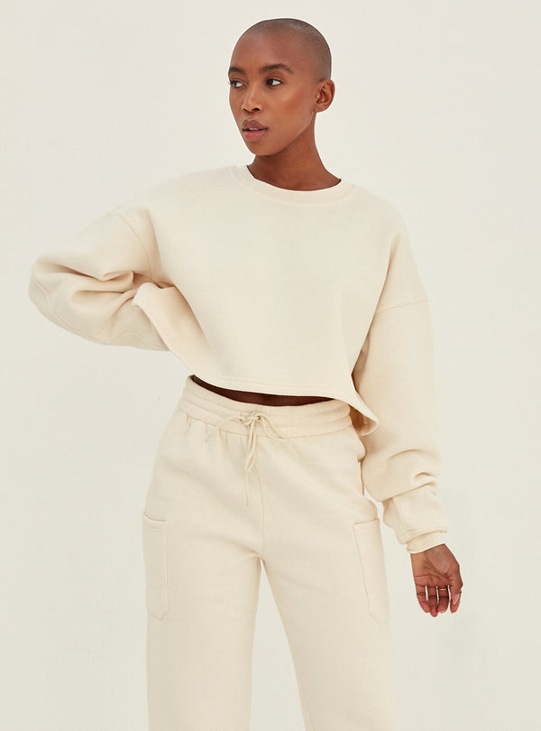 Irene Crop Sweatshirt Cream