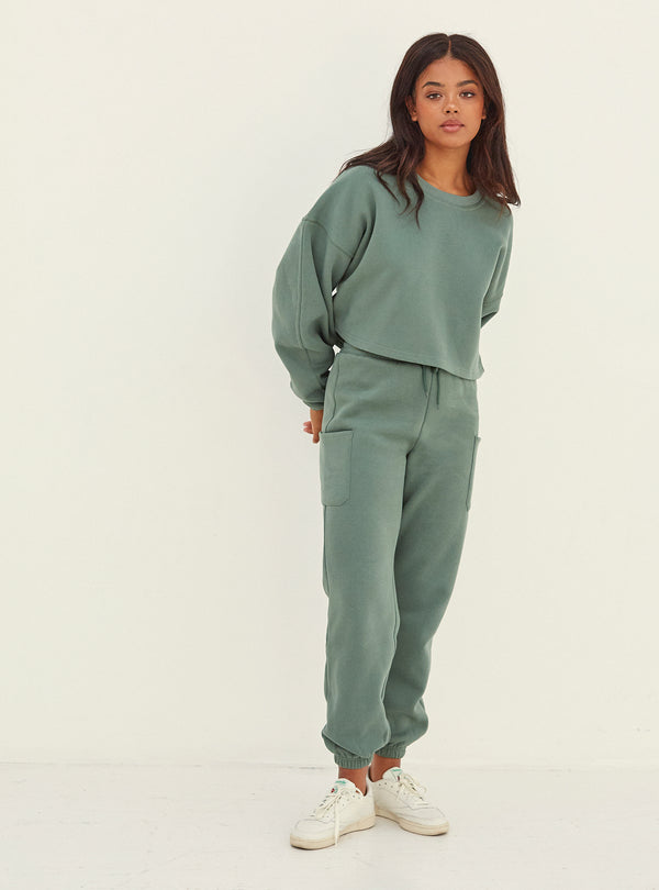 Irene Pocket Detail Jogger Green