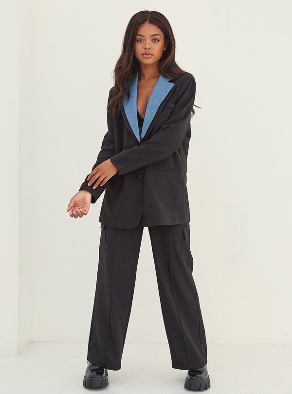 Iris Oversized Blazer With Denim Lapel Black