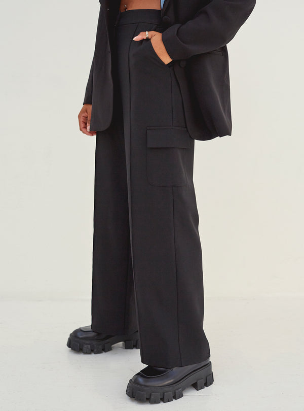 Iris Wide Leg Pocket Detail Pants Black
