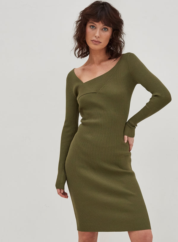 Isla Knitted Midi Dress Khaki