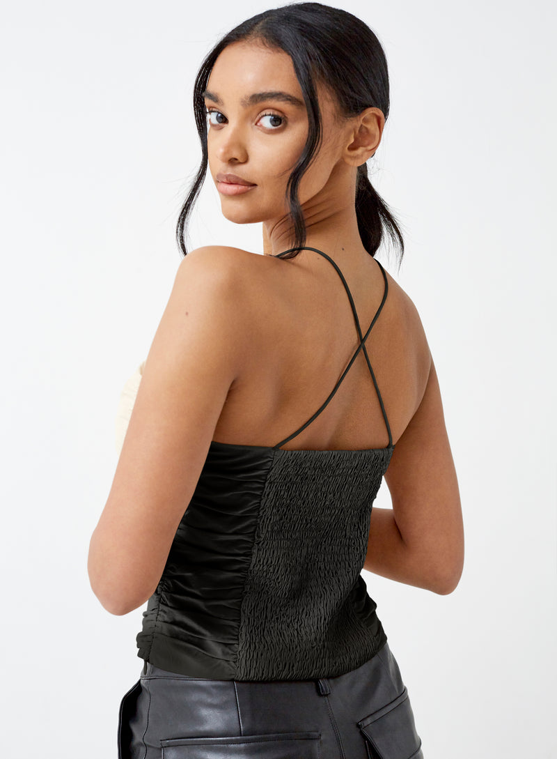 Jacque Ruched Cross Back Top Black