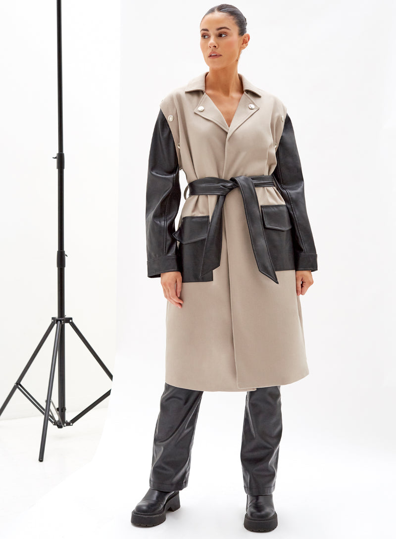 Jagger Mix Utility Trench Coat Olive And Black