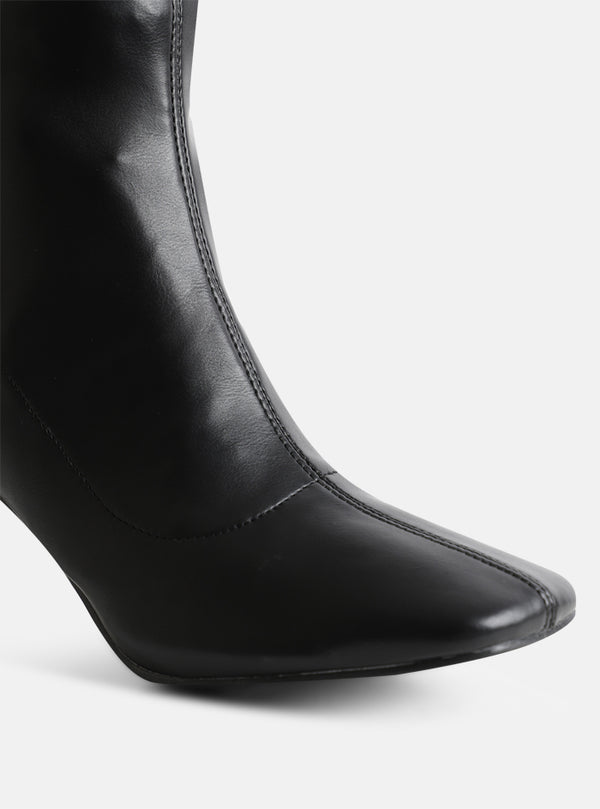 Jaya Square Toe Ankle Boot Black