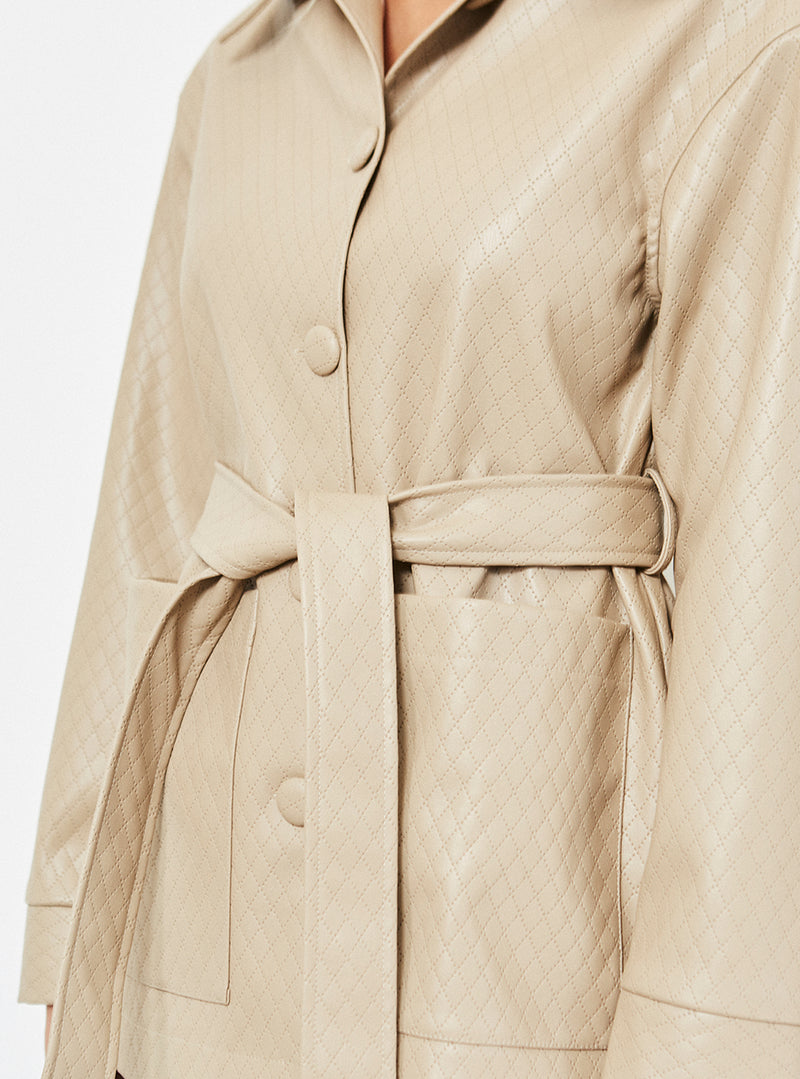 Kari Quilted Vegan Leather Jacket Nude