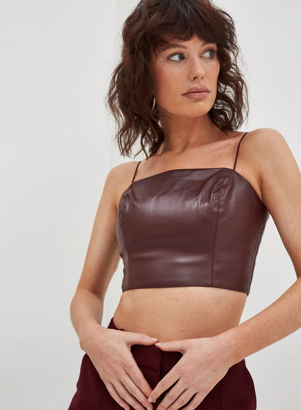 Kasia Vegan Leather Crop Top Wine