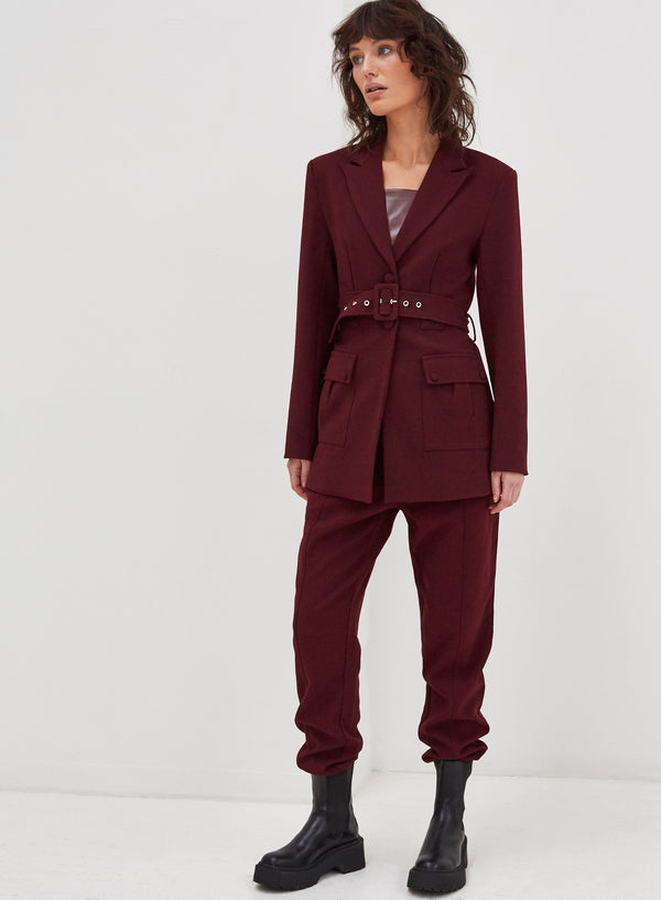 Kasia Tailored Jogger Wine