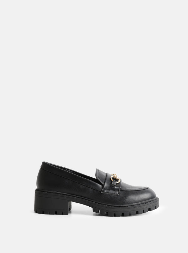 Kaya Chain Front Chunky Loafer Black