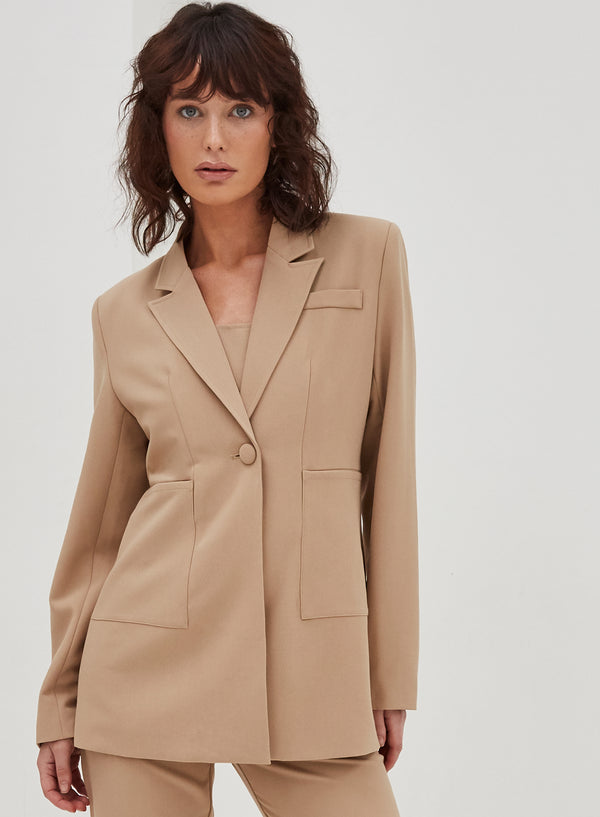 Kayden Single Breasted Blazer Camel