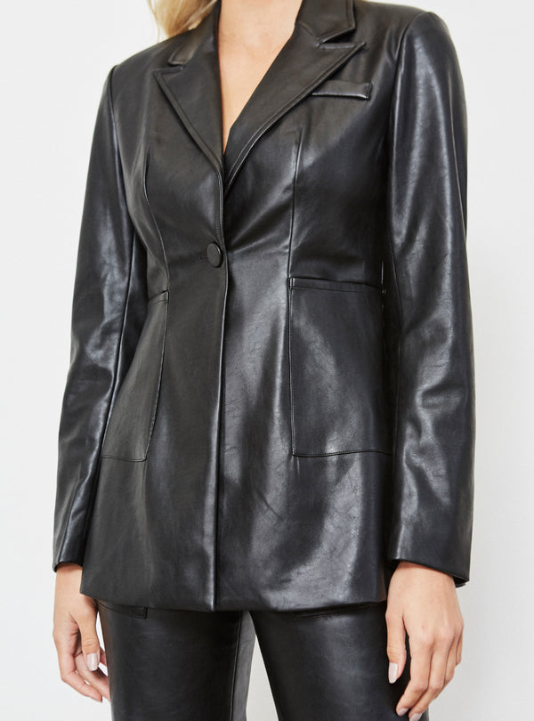 Kayden Vegan Leather Blazer Black