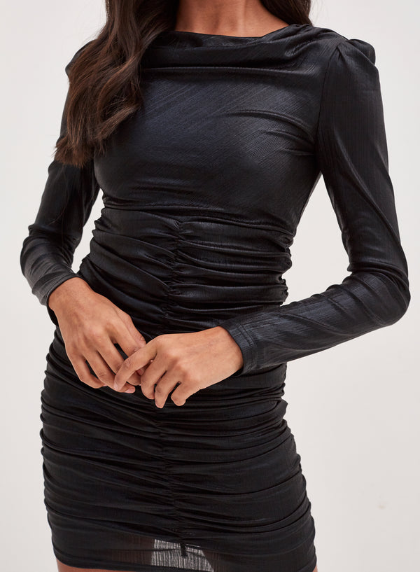 Kimberley Ruched Metallic Mini Dress Black