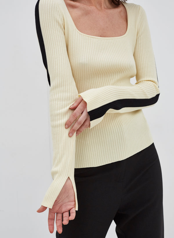 Knave Contrast Stripe Top Cream
