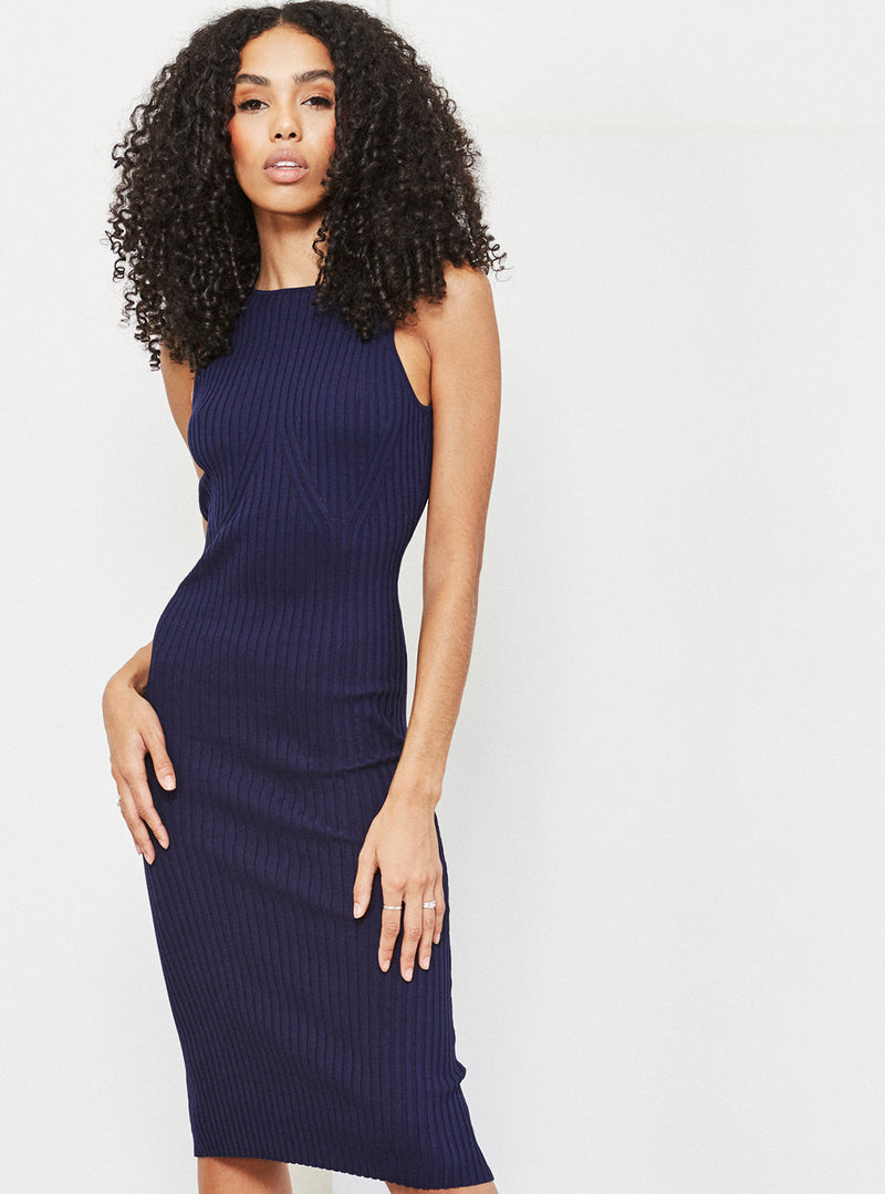 Laurie Chain Detail Knitted Dress Navy