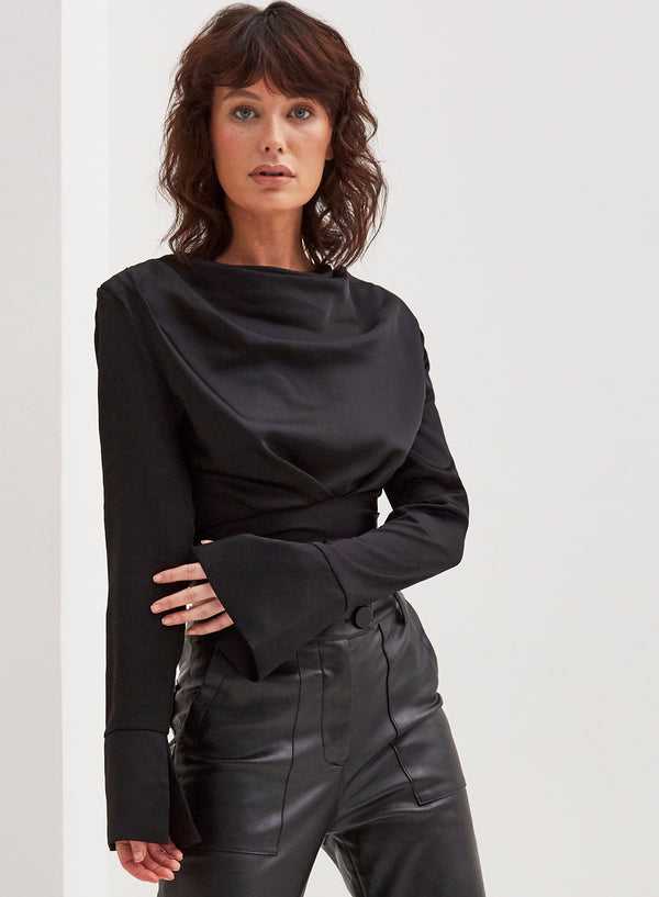 Leona Satin Shoulder Pad Blouse Black