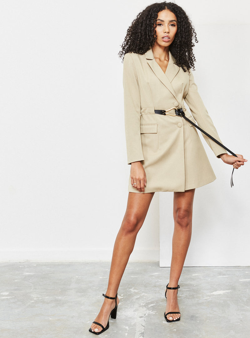 Lilo Belted Blazer Dress Nude