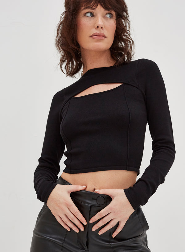 Linden Cut Out Crop Top Black