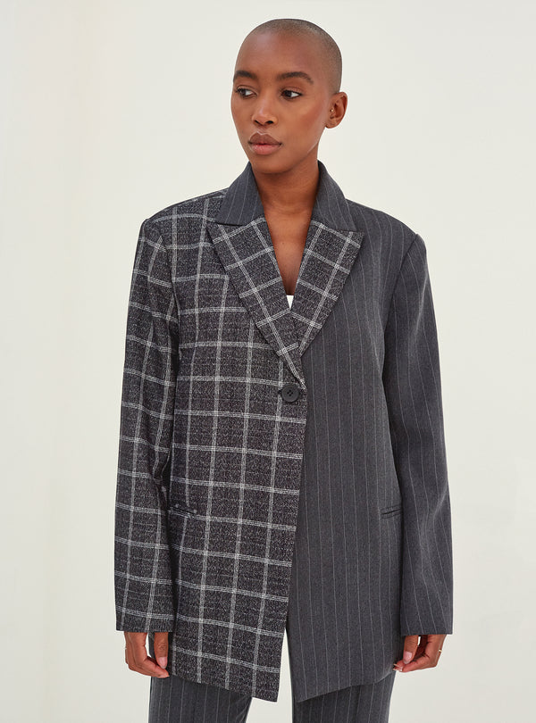 Liv Blazer Check And Grey Pinstripe Mix