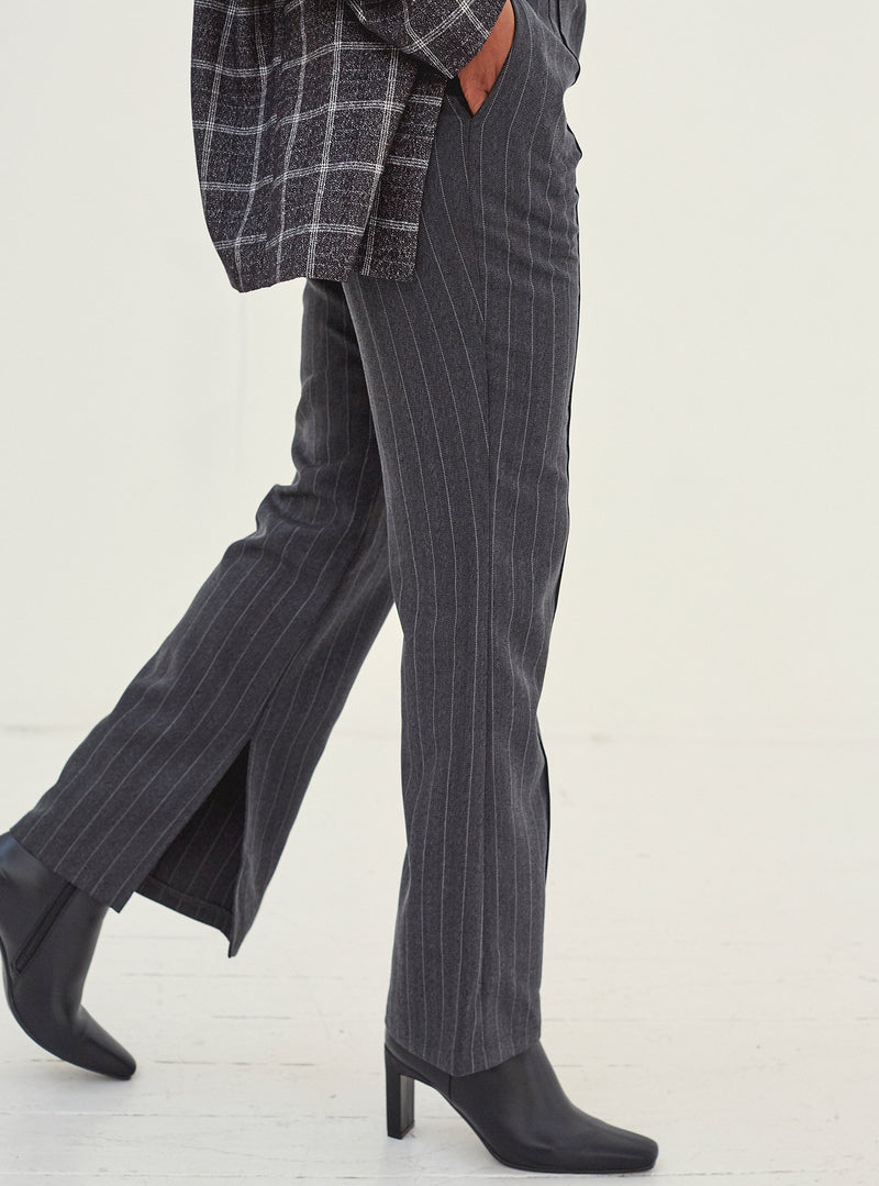 Liv Split Leg Pants Grey Pinstripe