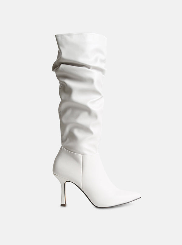 Livvi Knee High Slouchy Boot White Vegan Leather