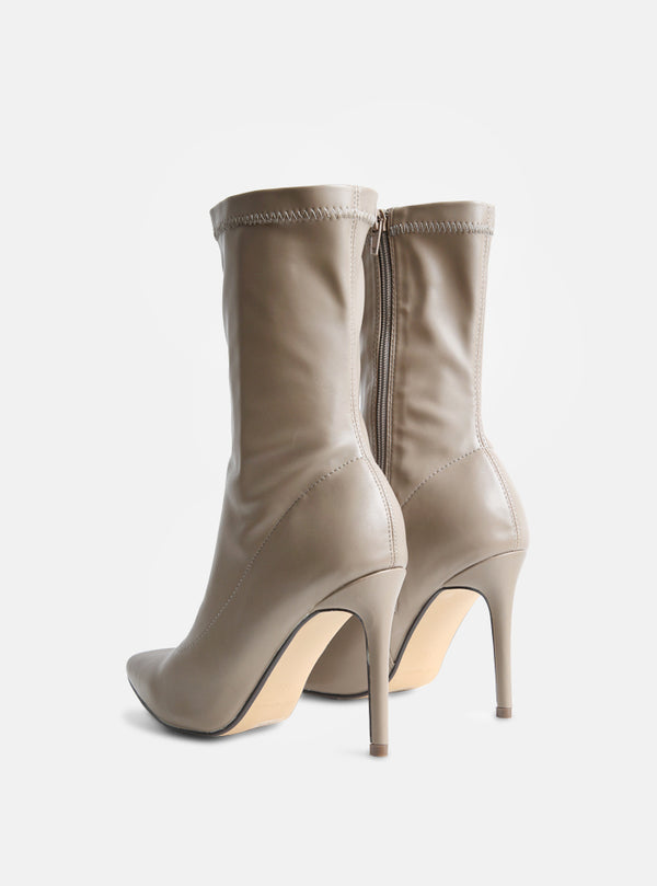 Luther Stiletto Heel Ankle Boot Nude