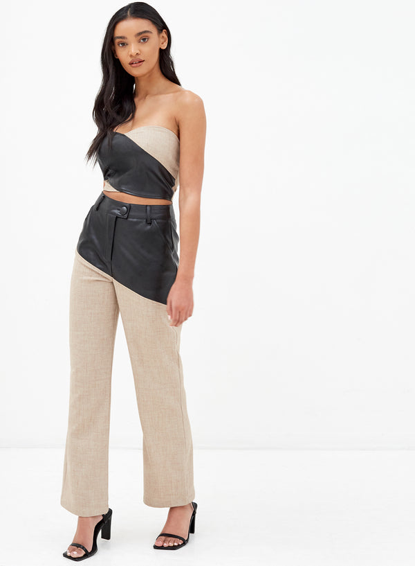 Macie Vegan Leather Mix Pants Beige