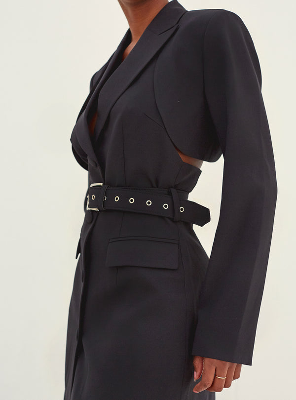 Maria Cut Out Detail Belted Blazer Dress Black