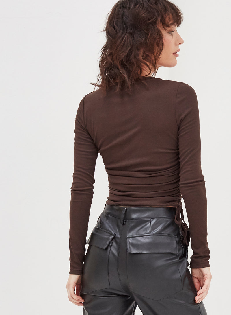 Matilda Ruched Side Top Chocolate