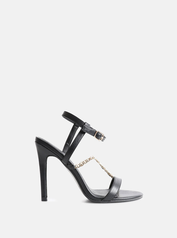 Maya Chain Detatil Stiletto Heeled Sandal Black