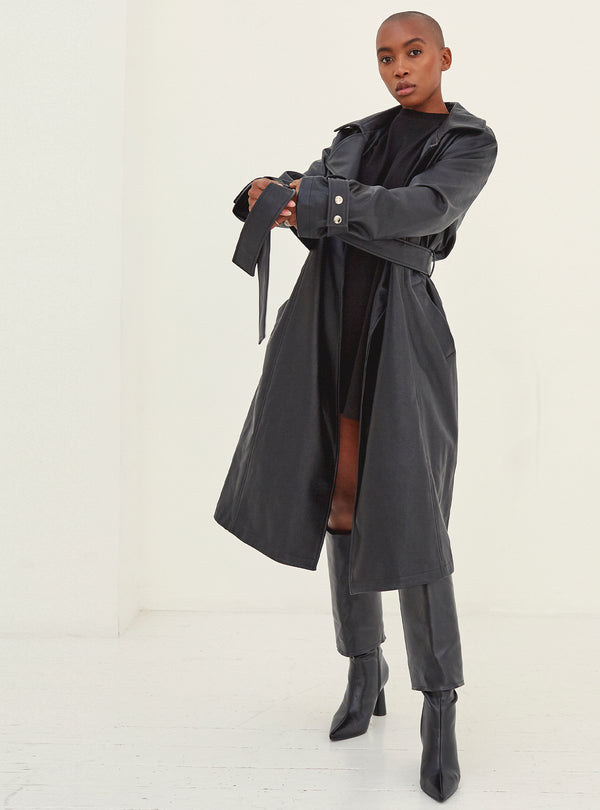 Mel Oversized Trench Coat Black Vegan Leather Size
