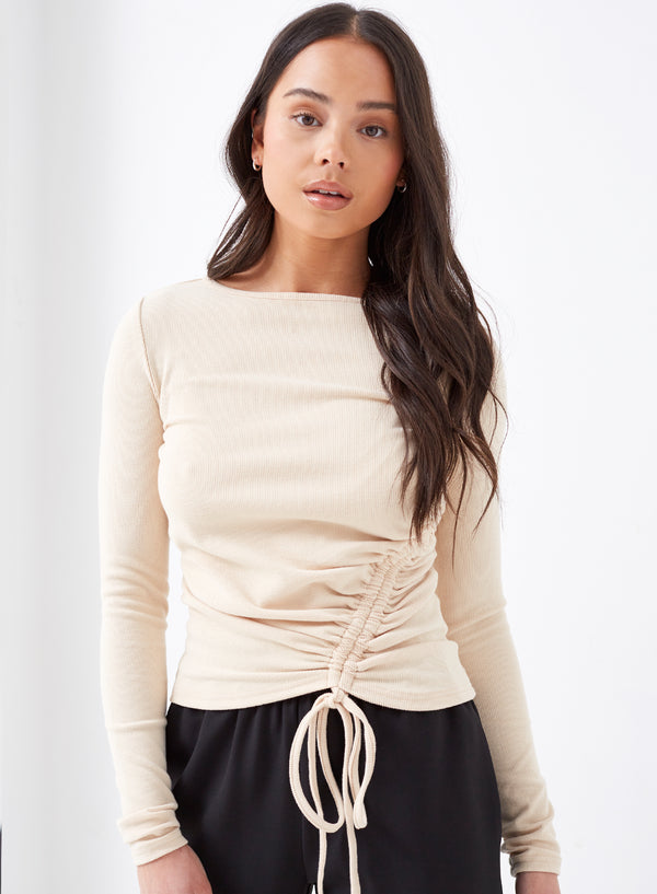 Nero Asymmetric Ruched Tie Top Cream
