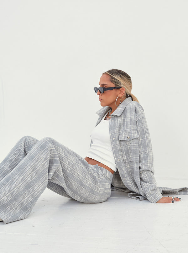 Nina Oversized Longline Shacket Grey Check