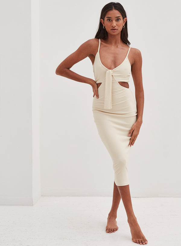 Nova Knotted Front Midi Dress Nude