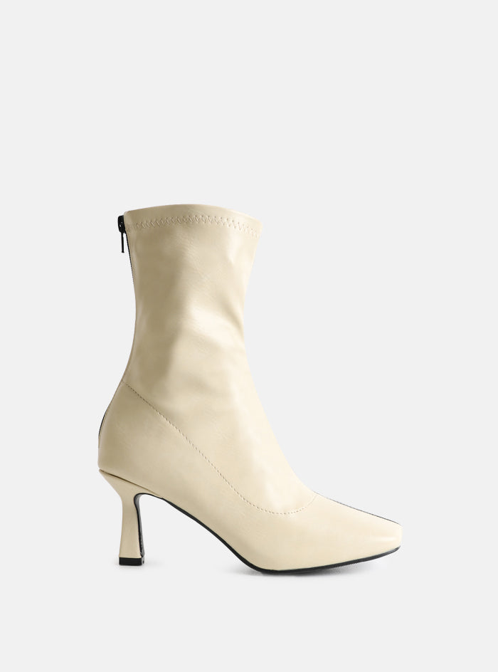 Oakley Cream And Black Square Toe Ankle Boot