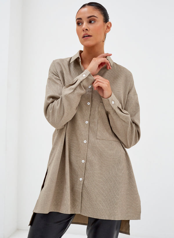 Peyton Longline Side Split Shirt Beige Check