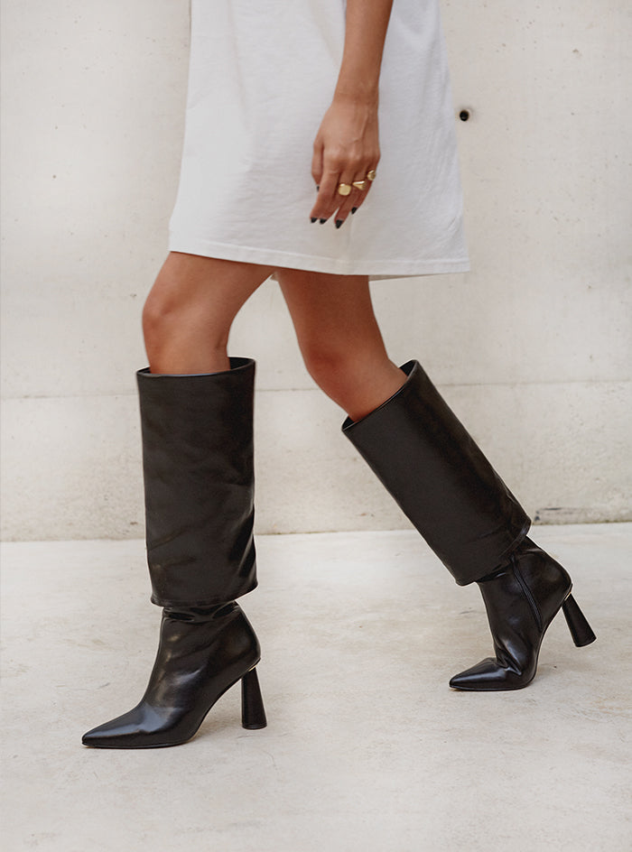 Pia Knee High Boot Black Vegan Leather