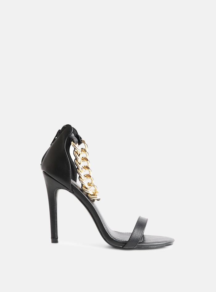 Remy Chain Strap Stiletto Heeled Sandal Black