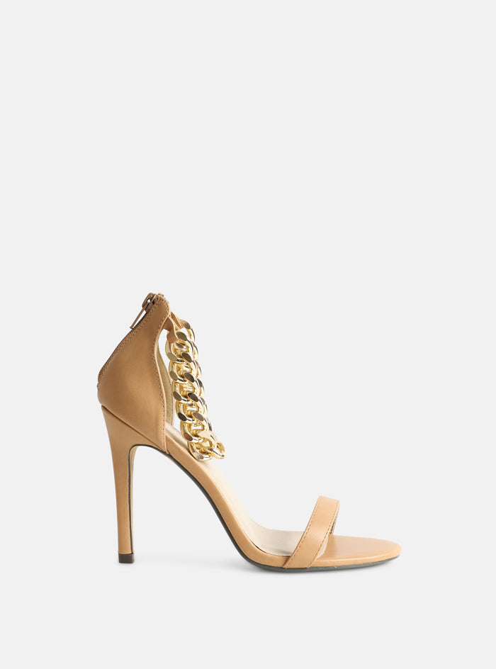 Remy Chain Strap Stiletto Heeled Sandal Nude
