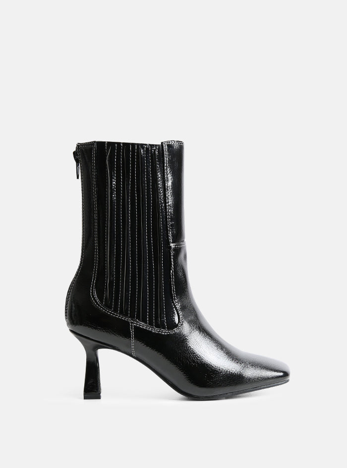 Rowe Square Toe Ankle Boot Black Patent