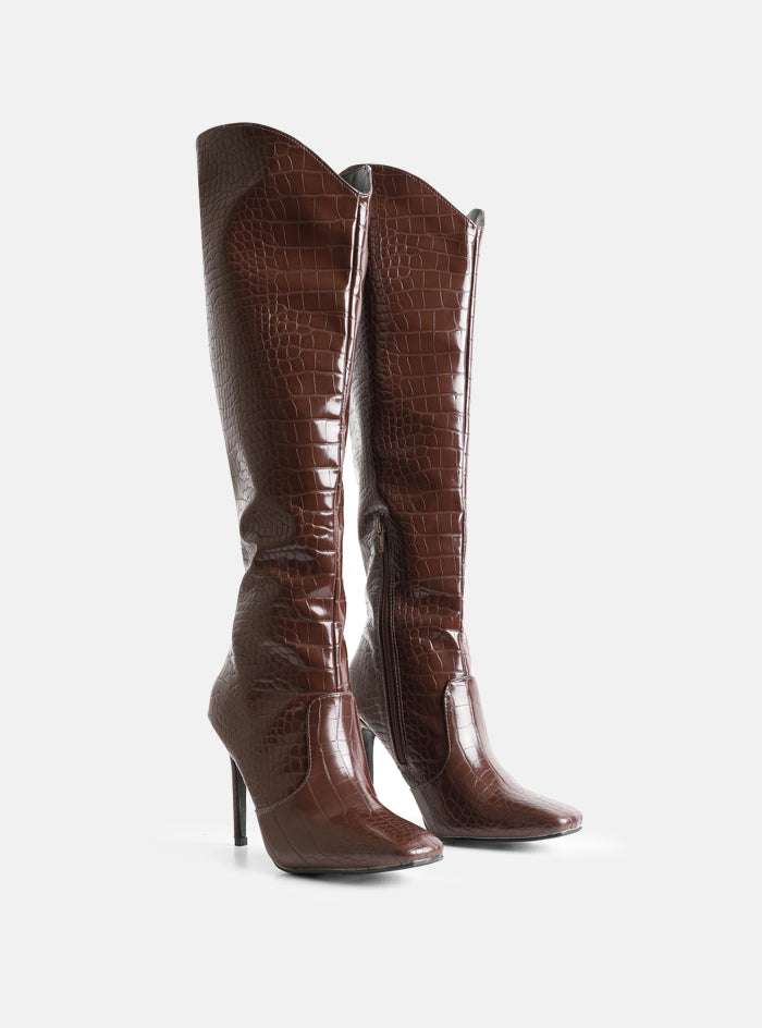 Shea Knee High Stiletto Boot Brown Croc