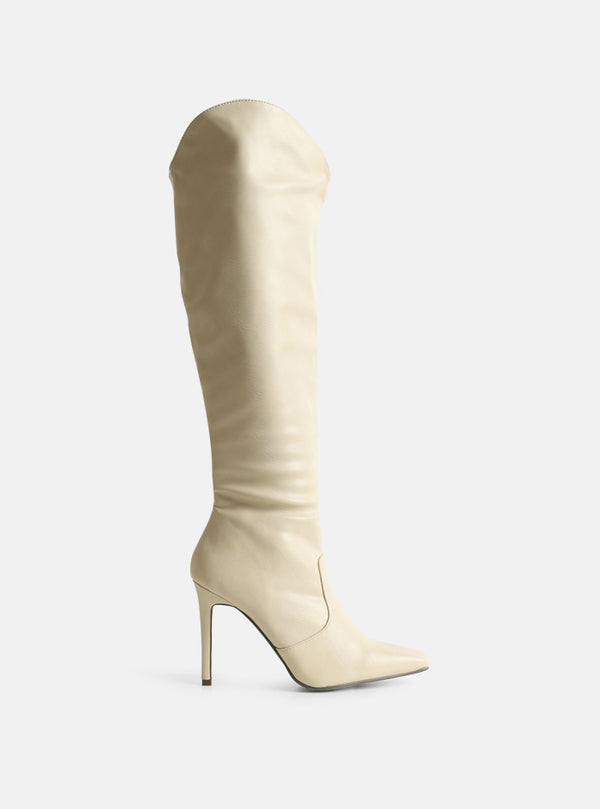 Shea Knee High Stiletto Boot Cream
