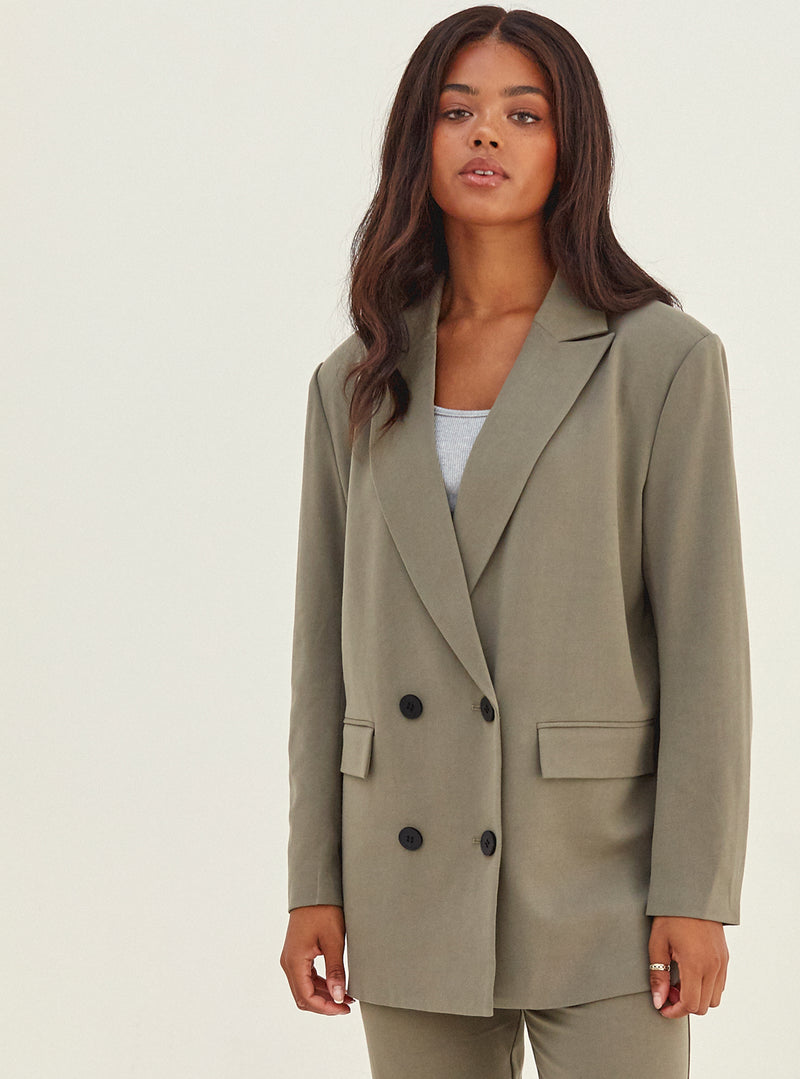 Sherrie Double Breasted Oversized Blazer Olive