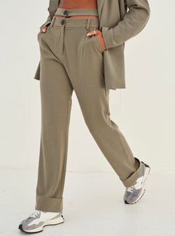Sherrie Double Waistband Tailored Pants Olive