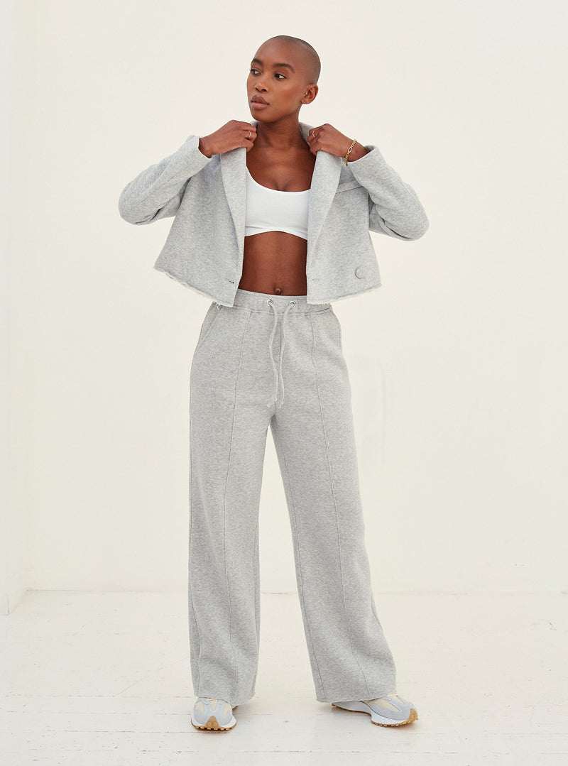 Sofia Wide Leg Jersey Jogger Grey
