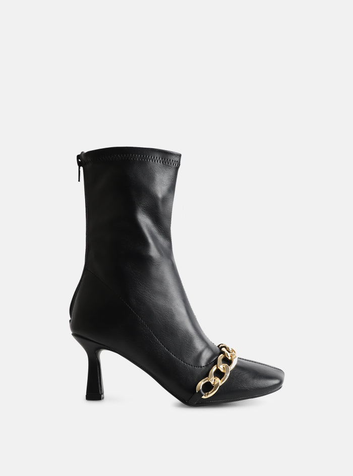 Tamsin Chain Front Square Toe Ankle Boot Black