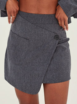 Tanis Asymmetric Mini Skirt Dark Grey