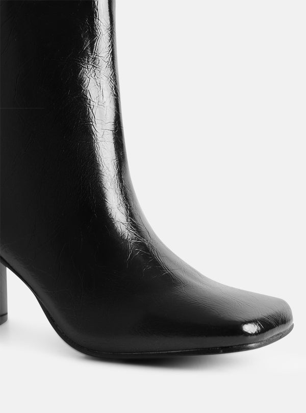 Teegan Square Toe Ankle Boot Black