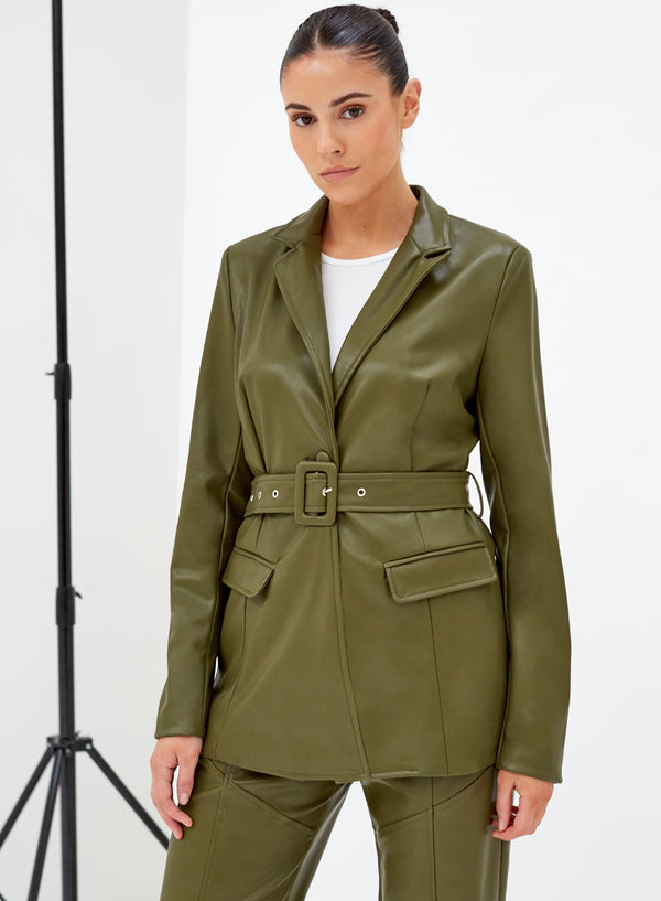 Tori Belted Vegan Leather Jacket Khaki