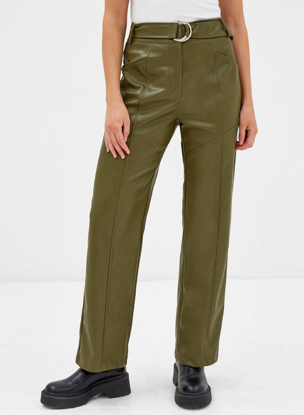 Tori Vegan Leather Pants Khaki