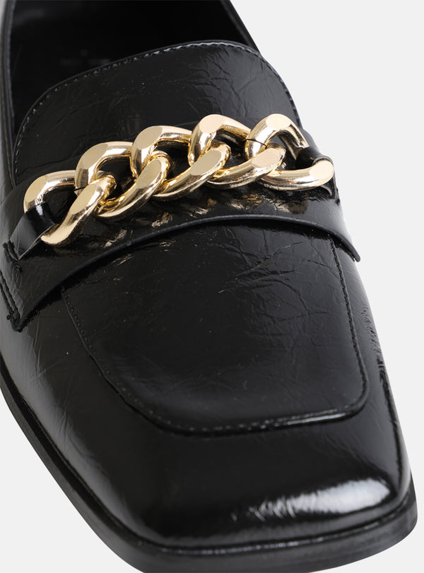 Whitney Chain Front Loafer Black Patent