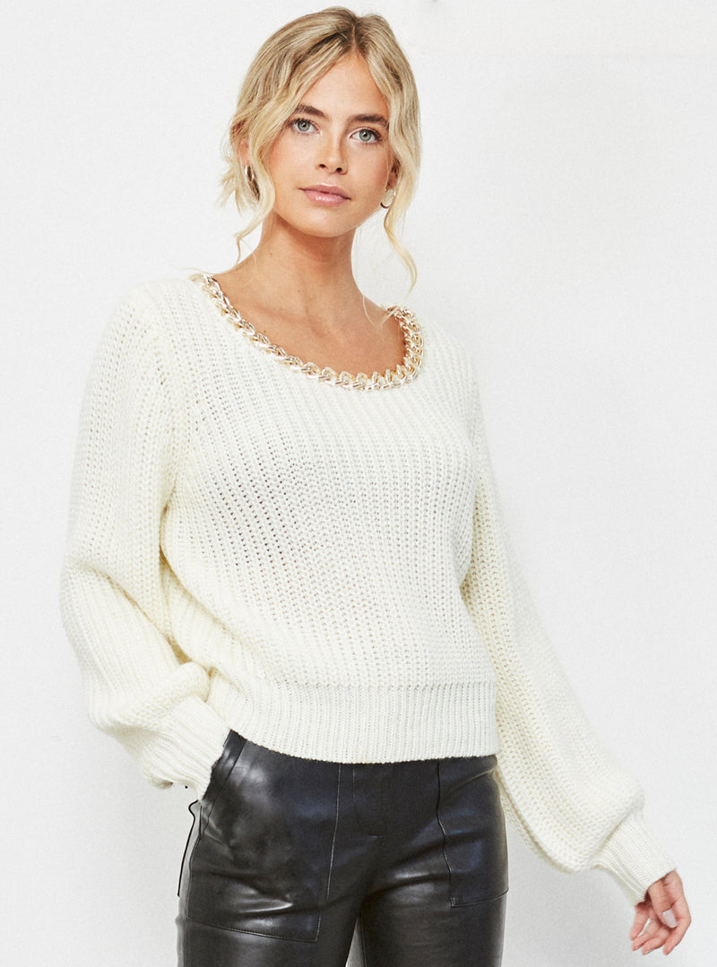 Effy Chain Detail Jumper Cream